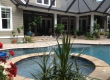 custom pool with raised spa, tanning ledge and screen enclosure